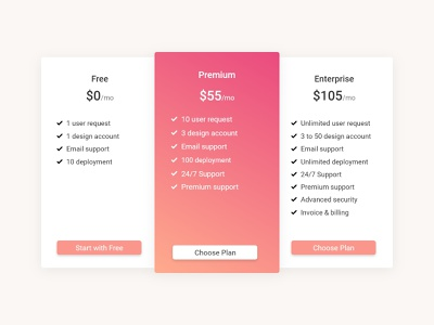 Pricing card UI bootstrap bootstrap 4 minimalist card design card adobexd adobe xd pricing