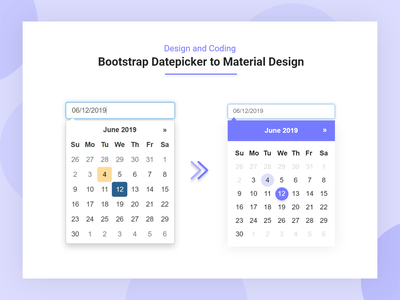Bootstrap Datepicker To Material Datepicker Design dropdown calendar design calendar app calendar calendar ui minimalist card design box design adobe xd adobexd bootstrap 4 bootstrap datepicker material design