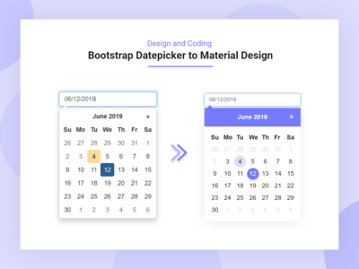 Bootstrap Datepicker To Material Datepicker Design