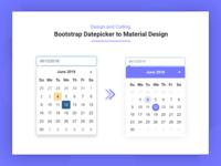 Bootstrap Datepicker To Material Datepicker Design