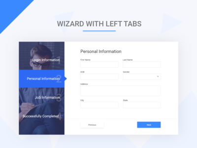 Wizard with left tab menu