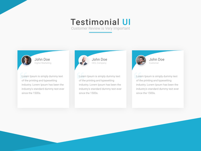 Testimonial UI Customer reviews section review customer review customers testimony testimonials testimonial minimalist material design card design adobe xd adobexd