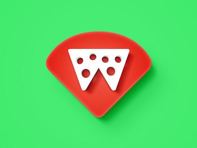 W pizza  food branding logo brand icon pizza