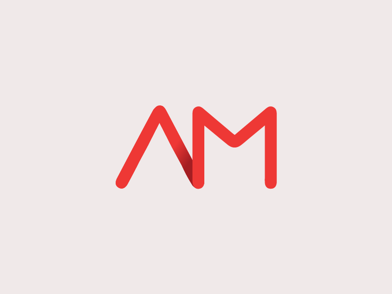 AMbita logo red single line icon design