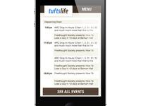 TuftsLife Mobile Redesign Mocks