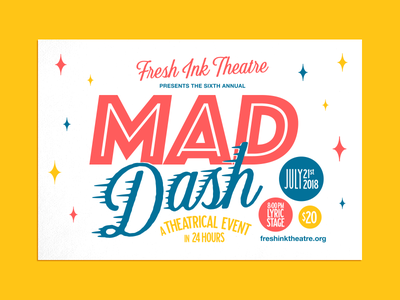 Mad Dash Postcard Front theatre event design print magic layout color mail snail stationary postcard