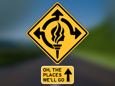 Oh, The Places We'll Go! – Girl's Camp 2013 illustration design road sign arrow yellow diamond logo logo design branding identity identity design girls camp mormon lds
