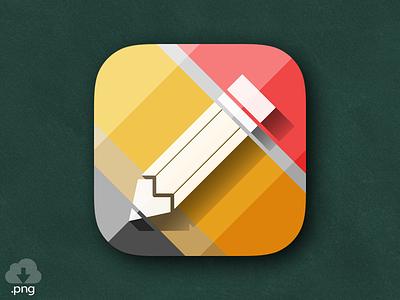 Pencil Icon - Rebound illustration design ios mobile icon ui ux branding freebie school pencil logo