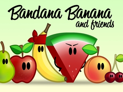 Bandana Banana design minimal vector icon creative branding character fruit illustration