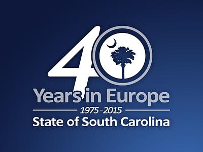 40 Years in Europe - SC Dept. of Commerce logo mark branding identity logo design identity design illustration brand design blue south carolina