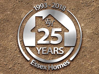 25 Years icon anniversary identity branding logo silver medallion homebuilder