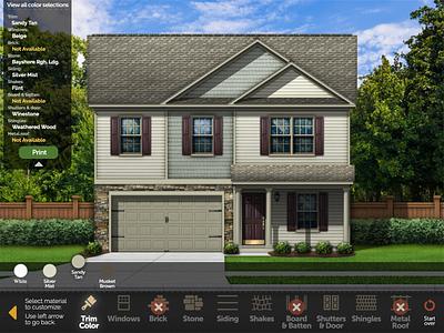 Interactive Home Designer branding design ui illustration app kiosk touchscreen home builder color selector interactive architecture rendering house