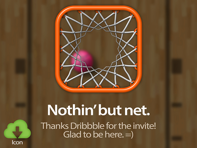 Nothin' but net. app debut app icon download drafted illustration basketball icon basketball photoshop illustrator ios ui freebie free freebies logo logo design mark dribbble