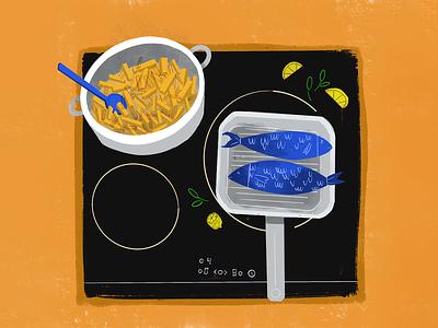 Sunday dinner home stayhome love healthy fish colors illustration design procreate ipad food dinner illustration