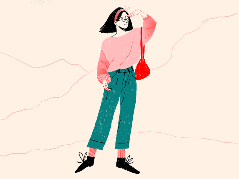 Adventure girl woman procreate marketing hand drawn editorial colors ui design opportunities new collaboration uiillustration character dribbble adventure illustration