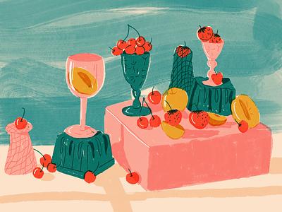 Still Life editorial illustration fruitillustration foodillustration procreate summer fruits composition brush colors design dribbble texture illustration