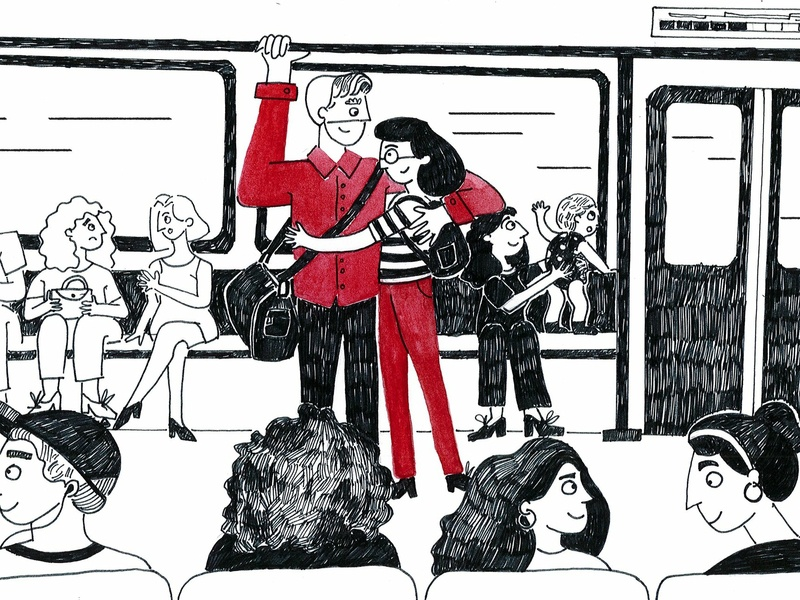Normal day moments city train couple characters love line sketchbook pen illustration