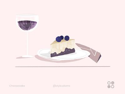 Cheesecake fruits juice cheesecake ui design texture character illustration