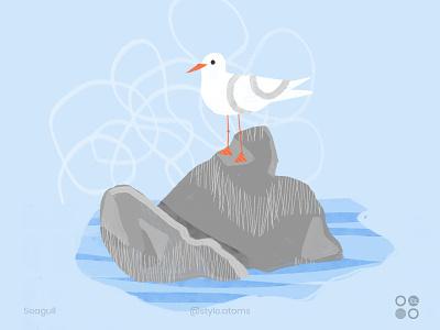 Seagull sea blue summer photoshop design dribbble character texture illustration