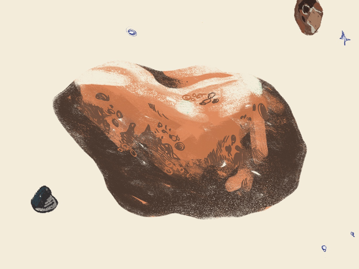 Asteroid photoshop adobe design popup book astronomy cosmos asteroid dribbble texture illustration