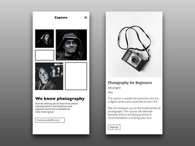 03 Landing Page adobe xd xd design ui ux uiux uidesign ui challenge ui photography mobile ui mobile website landing page