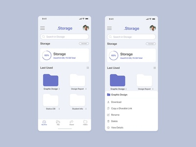 Cloud Drive Storage Mobile UI