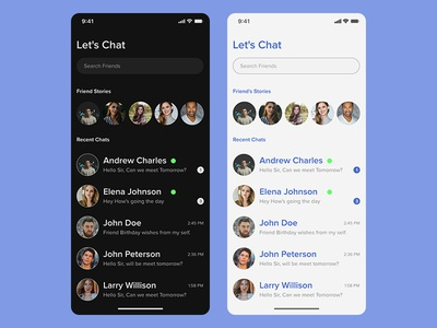 Chat Contacts UI - Dark and Light