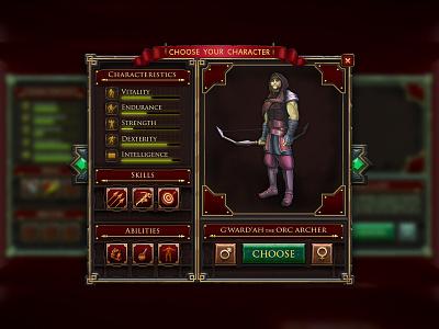 Choose Your Character Screen choosing pop-up character icons darkfantasy gameui ui