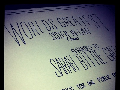 Handlettered hand lettered certificate fun