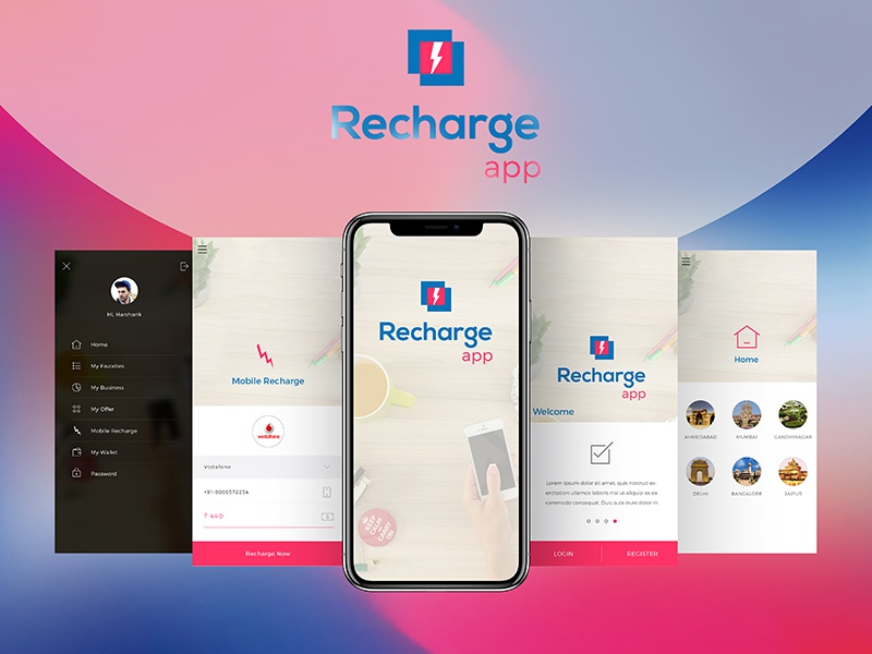 Free Recharge App UI/UX Concept by Romi Kalathiya on Dribbble