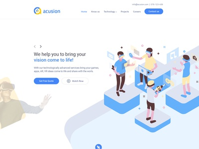 Acusion Technologies one page website design