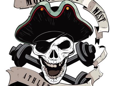 "LOGO - ""Mogadishu West Athletic Club"" coloring inking illustration clothing aline branding brand logo skull pirate"