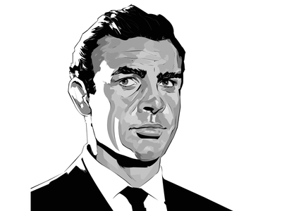 COMMISSION - RIP SEAN CONNERY inking illustration portrait painting commission movies sean connery