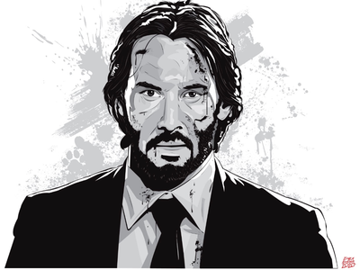 """COMMISSION- """"JOHN WICK"""" characters painting inking keanu reeves illustration portraits movies john wick"""