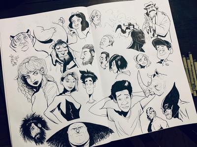 Finished weekly rough ink sketches heroes inks villains superheroes sketches sketch inking illustration sketchbook