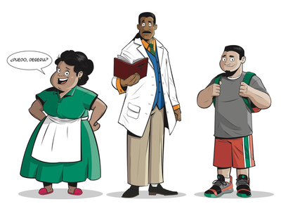 CHARACTER DESIGN - FAMU College characters coloring inking agency campaign illustration character design