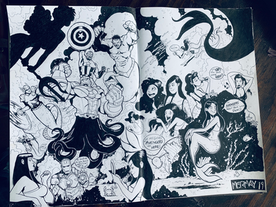 MERMAY & AVENGERS:ENDGAME MASHUP traditional2d illustration avengers mermay2019 mermay avengers:endgame sketchbook
