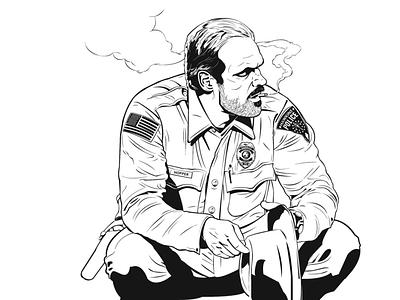TRIBUTE TO HOPPER comics character design character inking illustration hopper stranger things