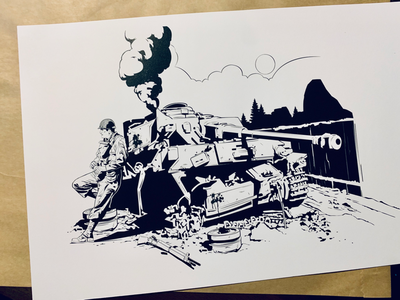 PRINT - BIRTHDAY PRESENT ILLUSTRATION illustrations illustrator traditional 2d tank character design inking illustration printmaking wwii print