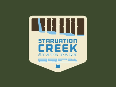 Starvation Creek illustration badges oregon columbia river creek trees train waterfall state park