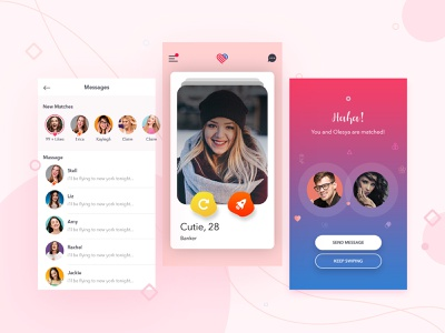 Dating App illustrator photoshop dribbble matches swipe left swipe right chat connections datingapp app design appdesign ux ui zignuts