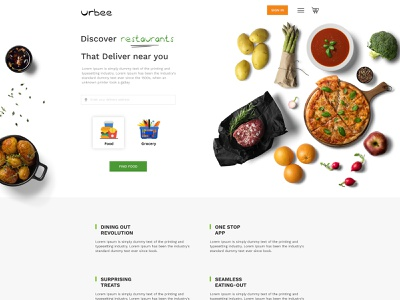 Food Delivery Website food delivery application landing design landing page