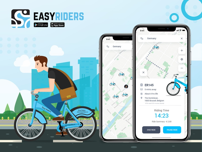 Easyriders booking reserve location graphicdesign logo booking app appdesign ui ux cycle rider design