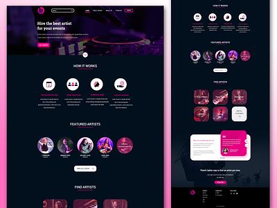 Hire Music Artist Website contest contract contact organizer organization events genre artist web design website hire me hire music typography vector illustration design zignuts ux ui