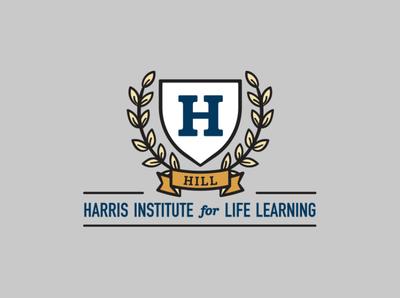 H.I.L.L. (Harris Institute for Life Learning) Logo flat gray logo yellow logo logos freelance design university logo school logo logo design vector