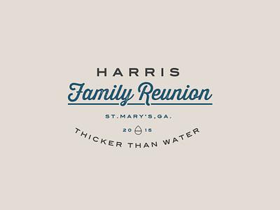 Harris Reunion Logo flat family reunion icon cursive script typography vector logo family