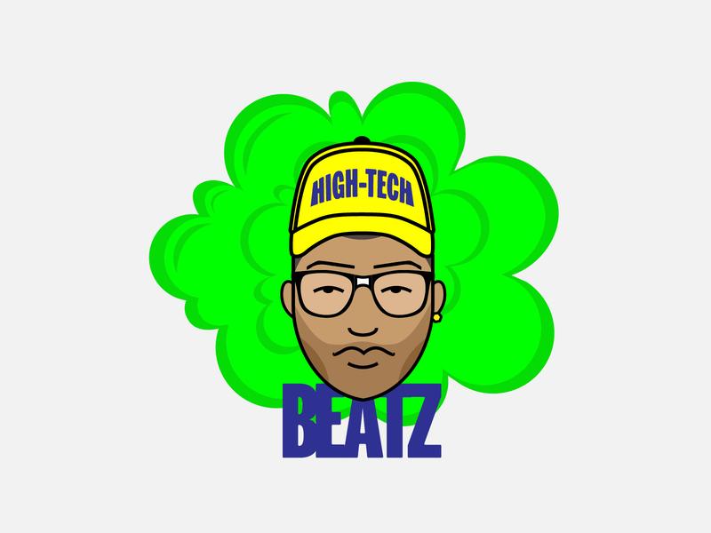 High Tech BEATZ Logo illustration flat icon logo design freelance graphic design cannabis logo cannabis high logo designer vector art freelance designer logo