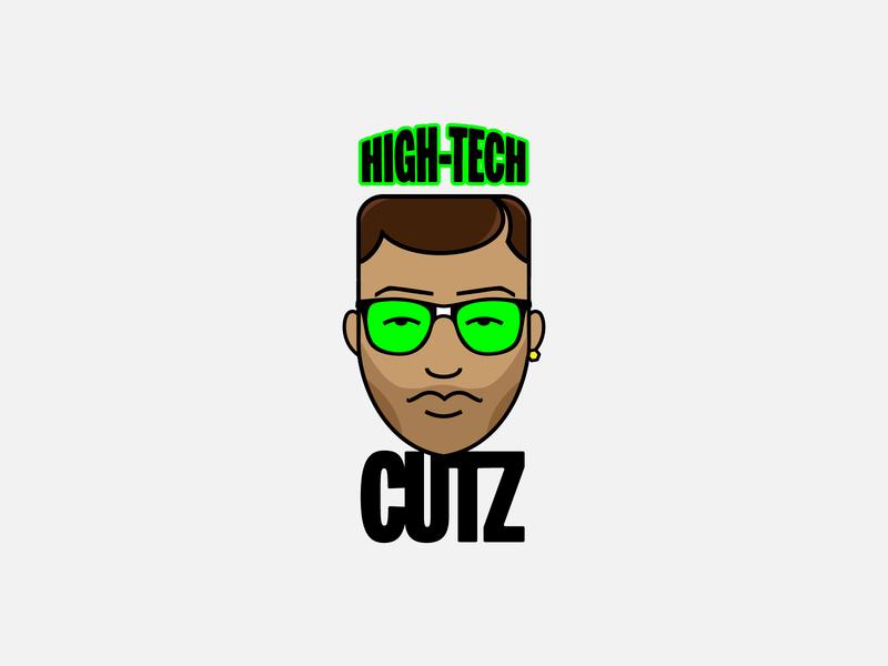 High-Tech CUTZ graphic design weed barbershop cannabis logo design freelance design icon design vector flat logo