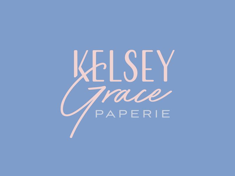 Kelsey Grace Paperie Logo paper vector art freelance designer feminine logo typographic typography graphic design logo design logo