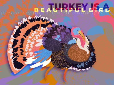 turkey is a beautiful bird illustration vegan thanksgiving turkey